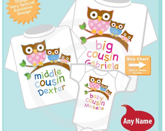 Set of Three Big Cousin Girl Owl Shirt, Middle Cousin Boy Owl Shirt, Baby Cousin Girl Personalized Owl Tee Shirt or Onesie 07102015c