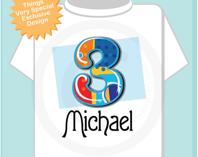 Three Year Old Boy's Shirt with Name, Third Birthday Shirt, Fancy Number 3rd Birthday Onesie, Personalized Birthday Onesie 08192012az