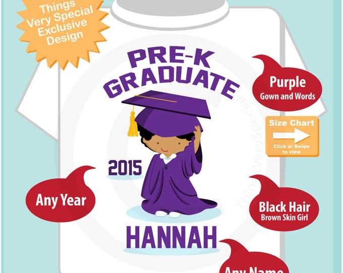 Pre K Shirt, Pre-Kindergarten Graduate Shirt, Personalized for your little girl with year, name and color 05282015d