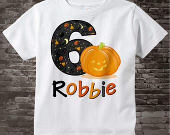 Personalized Sixth Birthday Pumpkin Tee Shirt, 6th Birthday Halloween Theme Tee Shirt, Short or Long Sleeve 10092017bz