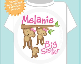 Big Sister Shirt or Onesie, Monkey Shirt, Big Sister Monkey, Personalized Big Ssiter with Two Little Siblings Monkey Tee Shirt (03032014a)