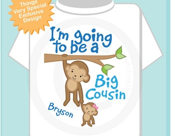 I'm Going to Be A Big Cousin Shirt, Big Cousin Onesie, Personalized Big Cousin Monkey Shirt with Little Girl Cousin (02112014f)