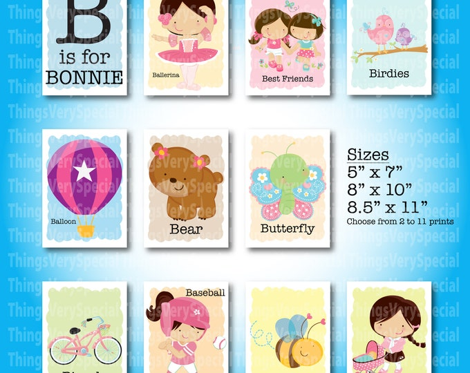 Children's Room Art Prints, for girls whose name starts with B. Alphabet learning prints. 09122019b