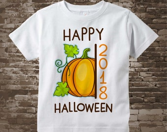 Happy Halloween 2018 Pumpkin Shirt or Onesie Bodysuit, Cute Fall Pumpkin Happy Halloween 2018 shirt or Onesie 09262017f