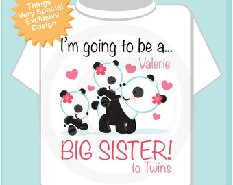 I'm Going to Be A Big Sister to Twins Shirt, Big Sister Onesie, Personalized Big Sister Shirt, Panda Shirt with Twin Babies 08292013a