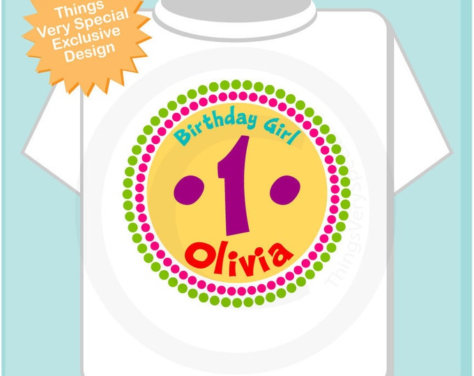 First Birthday Shirt, 1 Year Old Birthday, Rainbow Birthday Shirt Personalized Birthday Girl Circle Design Tee or Onesie Rainbow 06192012cz