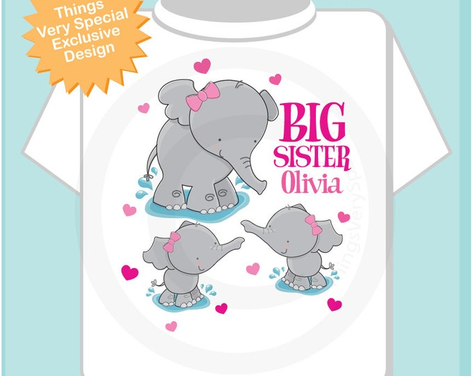 Elephant Big Sister to twin girls Shirt, Big Sister Elephant Tee Shirt or Big Sister Onesie Pregnancy Announcement (01302014c)