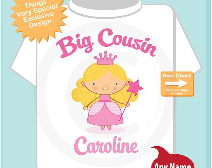 Princess Big Cousin Shirt, Personalized Big Cousin Shirt or Onesie, Big Cousin Shirt for Toddlers and Kids (02102015a)