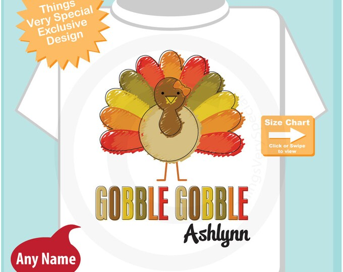 Girl's Gobble Gobble Thanksgiving Turkey Personalized Shirt or Onesie 10152012a