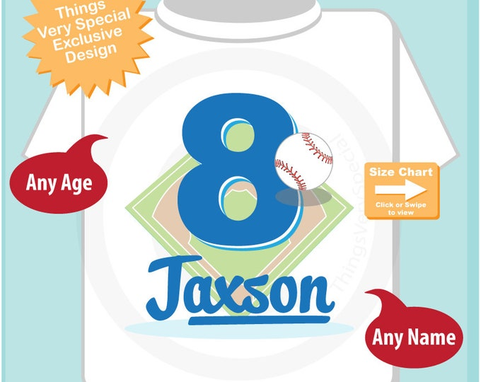 8th Birthday Shirt, Personalized Boy's Eighth Birthday Baseball Theme Tee Shirt 06052018c
