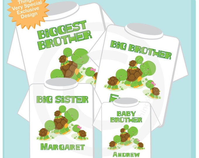 Sibling Turtle Shirt Set, Set of Four, Biggest Brother Shirt, Big Brother, Big Sister, and Baby Brother,  Personalized Shirt or Onesie