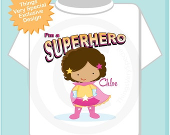 Superhero Shirt - Girl's Personalized Superhero Child's TShirt or Onesie with soft brown curls and light brown skin 01252013c