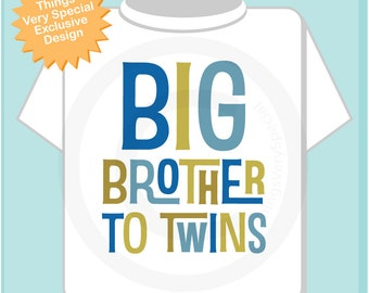 Big Brother To Twins Shirt,  Infant, Toddler or Youth Tee Shirt Blue and Golden Green Text t-shirt or Onesie 12142018c