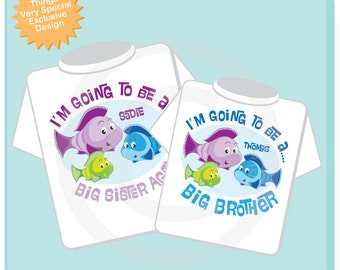 Set of Two I'm Going to Be A Big Sister Again and Big Brother Shirt set of 2, Sibling Shirt, Personalized Tshirt with Cute Fish (06152012c)