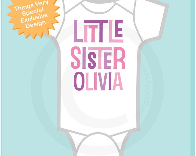 Girl's Personalized Little Sister Onesie or Tee Shirt with Pink and Purple Text (12082011c)