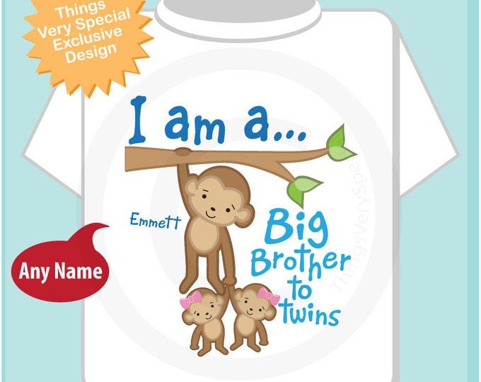 Boy's I am a Big Brother to Girl Twins Monkey Shirt or Onesie with twin Baby Monkeys, Personalized Pregnancy Announcement  (05142014a)