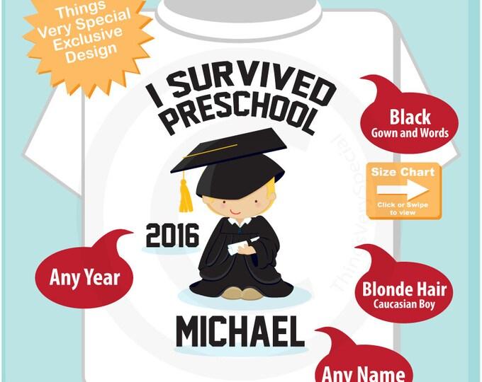 Personalized I Survived Preschool Shirt Kindergarten Graduate Shirt Child's Back To School Shirt 03162016d
