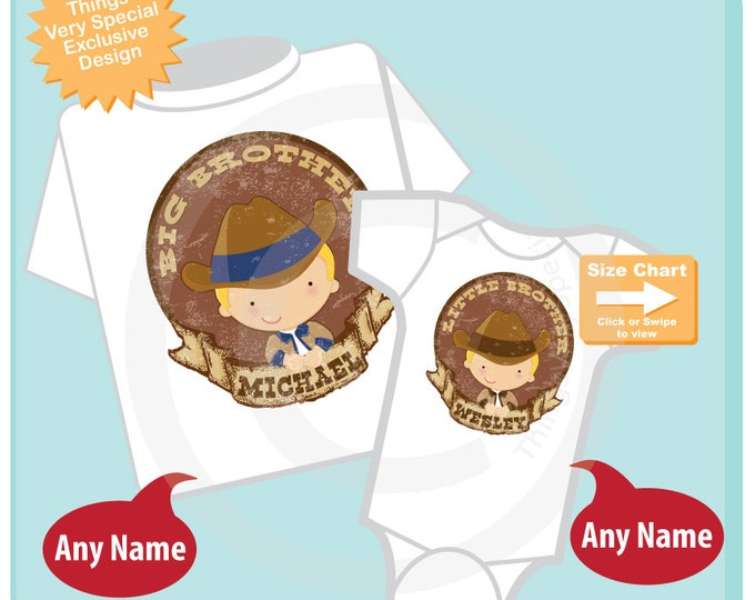 Matching Sibling Shirt Set of two, Big Brother Little Brother outfit, Personalized Cute Western Cowboys, Sprinkle Shower Gift (02272015a)