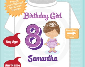 Eighth Birthday Shirt, Princess 8 Birthday Shirt or Onesie, Any Age Personalized Shirt Purple Age and Name Tee for kids 04172019c