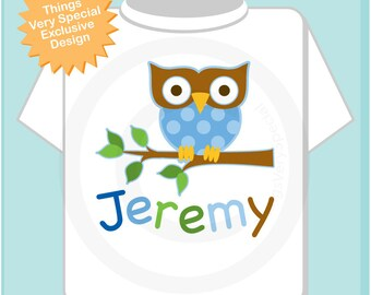 Personalized Kids - Boy Owl Shirt or Onesie with Child's Name - Blue owl for boys 04132012a
