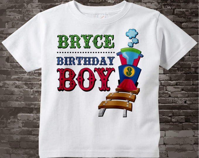 Boy's 3rd Birthday Train Shirt, Train Shirt, Personalized Train Birthday Conductor Tshirt with childs name and age 11122015gz