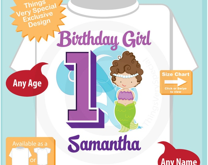 First Birthday Shirt, Mermaid 1 Birthday Shirt or Onesie, Any Age Personalized Shirt Purple Age and Name Tee for kids 08262015a