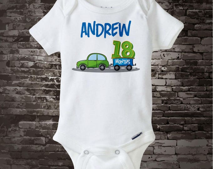 Boy's One and a Half Birthday Onesie Bodysuit or Shirt with car theme, Personalized with Name, Cotton Tee shirt or Onesie Bodysuit 09292017a