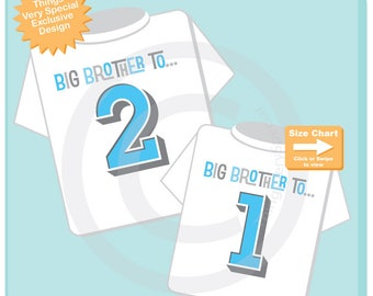 Big Brother to 2, Big Brother to 1 Matching Sibling Set of 2, Shirt or Onesie, Sibling Shirts, with Light Blue and Grey Letters (04072017h)
