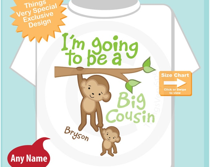 I'm Going to Be A Big Cousin Shirt, Big Cousin Onesie, Personalized Big Cousin Monkey Shirt with Little Cousin (08142014b)