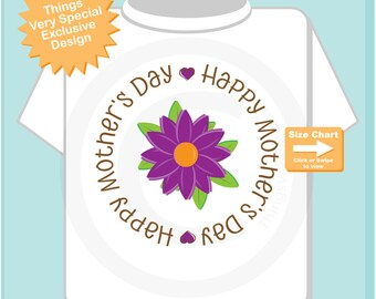 Happy Mother's Day T-shirt or Onesie Bodysuit,  Mothers Day Onesie or Tee shirt with Purple Flower, New Mom Gift 03292015a
