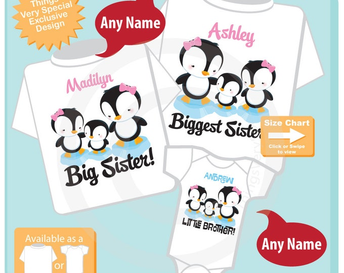 Sibling Penguin Shirt Set, Set of Three, Biggest Sister Shirt, Big Sister, Little Brother, Personalized Shirt or Onesie (09022015h)