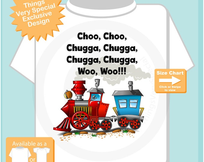 Boy's Train Shirt or Onesie Bodysuit, Train Conductor Tshirt with the words of what the train sounds like (07102015e)