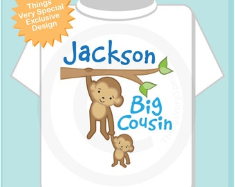 Boy's Personalized Big Cousin Monkey Shirt or Onesie Pregnancy Announcement (06292012b)