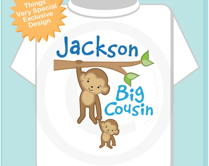 Boy's Personalized Big Cousin Monkey Shirt or Onesie Pregnancy Announcement (06292012b)