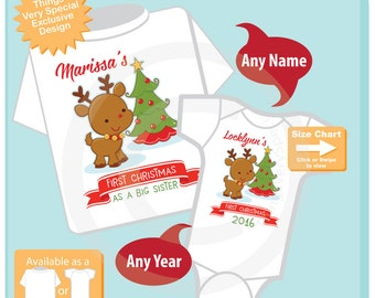 Christmas Big Sister Outfit set - Matching Sibling Set of 2 - Kids Matching Outfits - My First Christmas - Short or Long Sleeve 11302016b