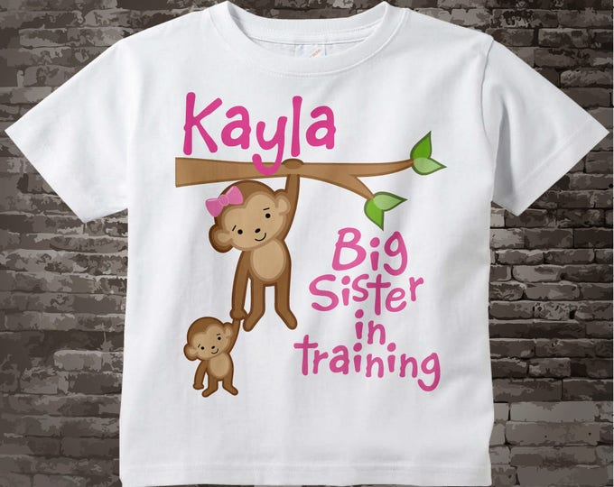 Big Sister in Training Shirt or Onesie, Monkey Shirt, Personalized Big Sister with Baby Monkey Tee Shirt 03232012c