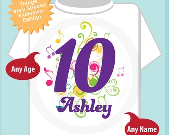 10th Birthday Shirt, Music Themed Tenth Birthday Shirt, Number 10, Personalized Girls Birthday T-shirt, Ten Year Old Kids 11172017az