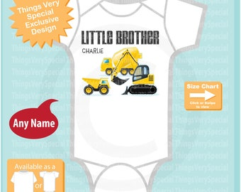 Construction Little Brother Onesie or Shirt - With two older siblings shown in design - Outfit top - Tshirt or Onesie Bodysuit 05012019e