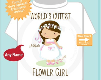 Flower Girl Shirt or Onesie Bodysuit, Personalized Infant, Toddler or Youth Tee Shirt with cute little girl (06052015f)