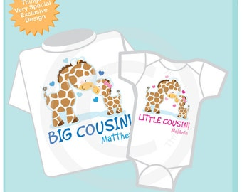 Set of Two Personalized Big Cousin and Little Cousin Giraffes Shirt, Big Boy Cousin and Little Girl Cousin Onesie (02172014a)