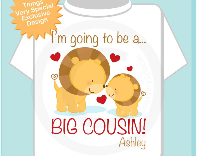 Personalized I'm Going to Be A Big Cousin Tee shirt or Onesie with cute lions. (09172012c)
