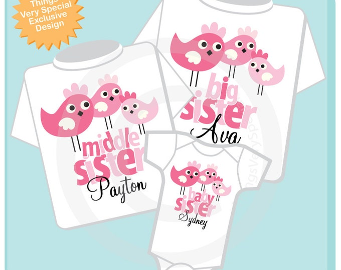 Girls Set of Three Big Sister, Middle Sister, Baby Sister Birdie Shirts and Onesie Personalized with your child's name 06272013c
