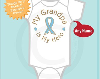 Personalized My Grandpa is My Hero, Prostate Cancer Support Tee Shirt or Onesie with Light Blue Ribbon 08222016c