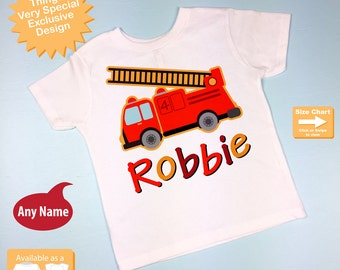 4th Birthday Fire Truck Shirt, Personalized Fourth Birthday Fireman Shirt, Fire truck Shirt or Onesie with childs name and age 07162012bz