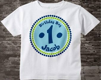 Birthday Shirt, One Year Old Birthday, Blue Birthday Shirt, Personalized Birthday Boy Circle Design Tee or Onesie Green and Blue 08302010a