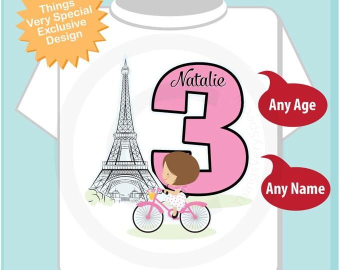 Third Paris Birthday Shirt, Pink 3 Birthday Shirt, Personalized Girls Birthday Shirt Pink Age and Name Tee for kids 11292017b