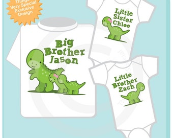 Sibling Dinosaur Set of Three Shirt or Onesie, Big Brother Shirt, Big Brother, and Twin Baby Brother and Sister,  Personalized (04172014b)