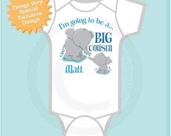 Big Cousin Onesie with Elephant I'm going to Be a Big Cousin Elephant Tee Shirt or Big Cousin Onesie Pregnancy Announcement (03182012d1)