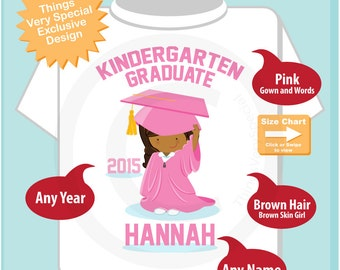 Kindergarten Graduate Shirt, Kindergarten Graduation Shirt, Personalized for your little girl with year and name (05072015e)