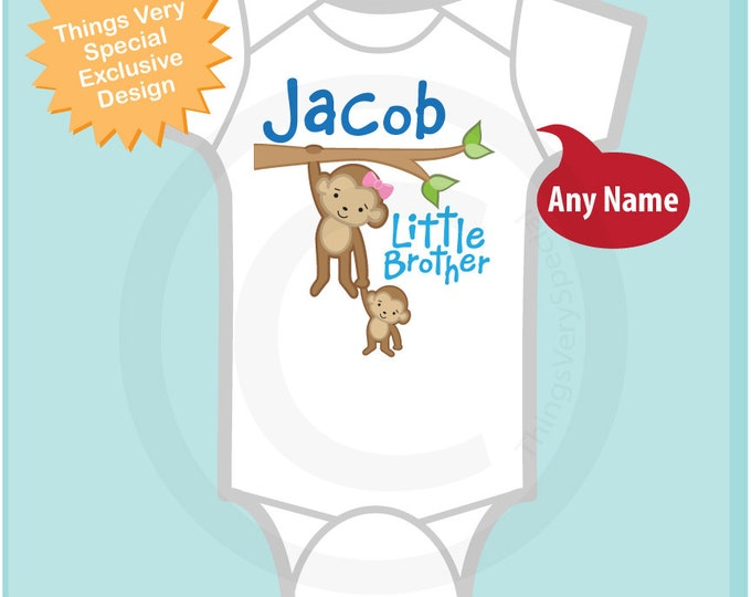 Personalized Little Brother Monkey with Big Sister Tee Shirt or Onesie (07182011c)